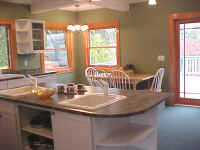 Kitchen island with ample windows
